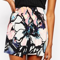 River Island Digital Wrap Floral Mini Skirt