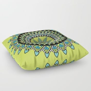 Green & Blue Decorated Indian Mandala Floor Pillow by inspiredimages