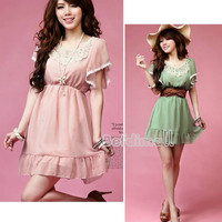 Mini Dress Korean Fashion Women's Elegant Laciness Short Sleeve Sweet Chiffon