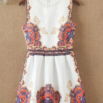 White Retro Style Sleeveless Jacquard Dress