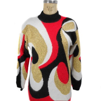 1980s Rafaella Psychedelic Sweater - Angora Blend - Red Black White Gold - Oversized Sweater - Swirl - Hipster - Size Small
