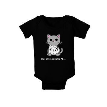 Dr Whiskerson MD - Cute Cat Design Baby Romper Bodysuit Dark by TooLoud