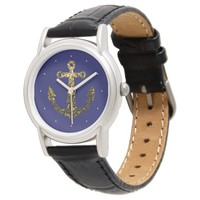 Beautiful Yellow Gold sparkles Anchor on Navy Blue Wrist Watch