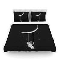 "Digital Carbine ""Moon Swing"" Black Fantasy Illustration Featherweight Duvet Cover"