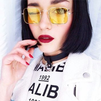 Unisex Fashion Transparent Ocean Lens Vintage Metal Small Square Frame Sunglasses Glasses