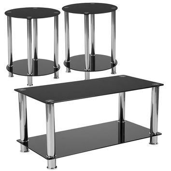 Riverside Collection 3 Piece Coffee and End Table Set with Black Glass Tops and Stainless Steel Frames [HG-CEK-18-GG]