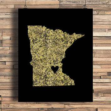 Minnesota With Heart Faux Gold Foil Art Print, Minimalist Art, Home, Office, Bathroom, Dorm, Work Decor, Nursery Art, Housewarming Gift