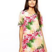 Oh My Love T-Shirt Dress in Tropical Hibiscus Print