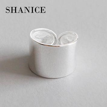 SHANICE 925 Sterling Silver Chic style Open Ring For Women Big Smooth Wide Face Rings for Women Punk Style Bijoux Femme