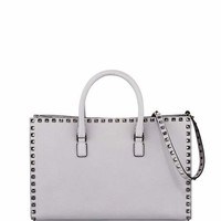 Valentino Rockstud Leather Top-Handle Tote Bag, Gray