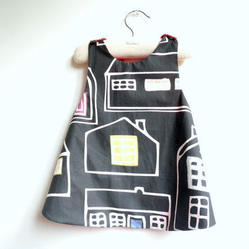 French Une Ville La Nuit (A City by Night) Reversible Pinafore top or dress - 6 months to 5Y