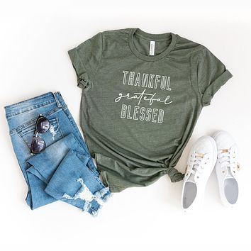 Thankful Grateful Blessed | Short Sleeve Graphic Tee