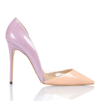 Shoes: 'SICILY' Nude & Lilac Pointy Toe Pumps