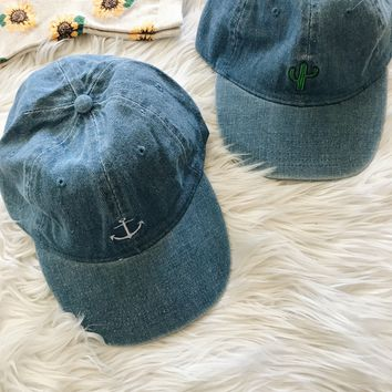 DENIM EMBROIDERY HAT- BLUE