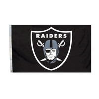 Fremont Die Inc NFL Sports League Oakland Raiders Logo 3 Ft. X 5 Ft. Polyester Flag With Grommetts