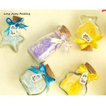 Hot Fashion Small Cute Mini Flower Star Pudding Wishing Cork Stopper Glass Bottles Milk Bottle Vials Jars Containers