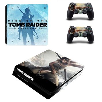 For Playstation 4 slim stickers PS4 Slim Console and 2 controller skins Sticker - RISE OF THE TOMB RAIDER