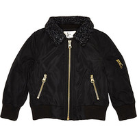 River Island Mini boys black fleece collar bomber jacket