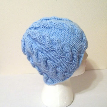 Blue Cabled Beanie, Warm Hand Knit Hat