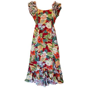 Excite Red Hawaiian Meaaloha Muumuu Dress with Sleeves