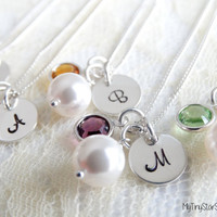 Bridesmaid Jewelry Set  Bridesmaid Initial Necklace Necklace Set of 7 White Pearl Bridesmaid Necklace  Initial Wedding Jewelry