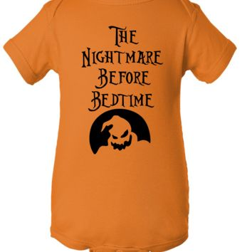 """Nightmare Before Bedtime"" Orange Creeper Baby Onesuit"