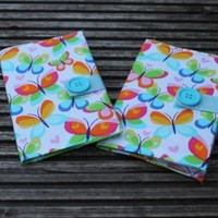 Fabric covered Notebook butterfly print - Scratchy Cat Crafts