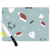 "Louise ""Happy New Year!"" Christmas Teal Santa Cutting Board"