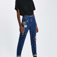 MOTO PETITE Embroidered Mom Jeans