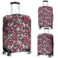 Schnauzer Flower Luggage Cover