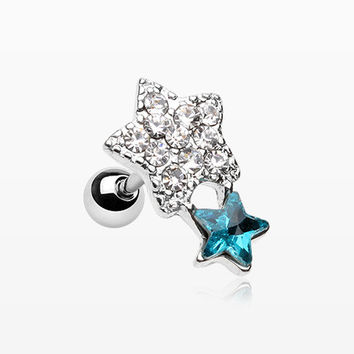Sparkle Star Duo Cartilage Tragus Earring