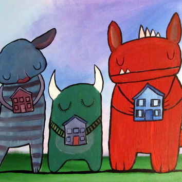 Monster Painting, Nursery Wall Art, Kids Room, Original Acrylic Painting, House Warming Gift