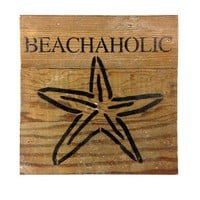 Beachaholic with Starfish Print - Reclaimed Wood Art Sign - 6-in x 6-in
