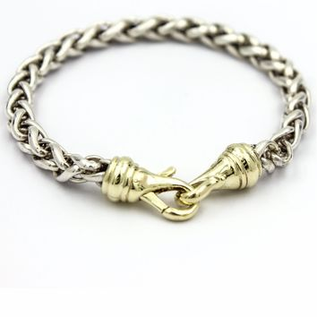 DAVID YURMAN Men's 6mm Wheat Chain Bracelet in Sterling Silver and 14k Gold