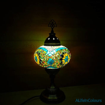 Unique colourful handmade Turkish authentic glass mosaic table lamp, bedroom night lamp, night lighting lamp, bedside lamp, kid's room lamp.