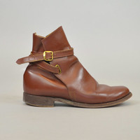 vtg 80s Brown LEATHER ankle wrap around harness classic equestrian JODHPUR BOOTS, size 6 36 4