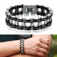 Stainless Steel Black Rubber Chain Link Bracelet