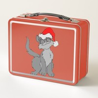Cute Holiday Cat Metal Lunch Box