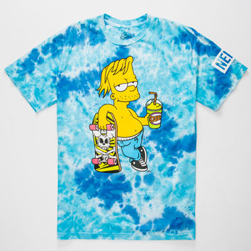 Neff X The Simpsons Acid Blue Chillin Mens T-Shirt Blue Combo  In Sizes