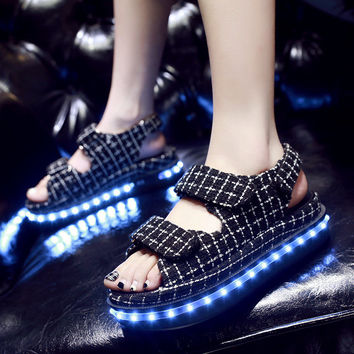 Colorful Creative Bright Summer Stylish Lightning Shoes Round-toe High-top Flats LED Noctilucent Lights [6734579207]