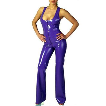 Latex Uniform Purple Latex Catsuit Loose Jumpsuit Sexy Sleeveless Bodysuit Front Zipped Leotard