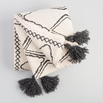Geometric Print Sherpa Throw Blanket