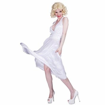 DCCKH6B Women Sexy White Marilyn Monroe Costume Deluxe Halter Dress Cosplay Party Fancy Dress for Female Adult Girl Halloween Costumes