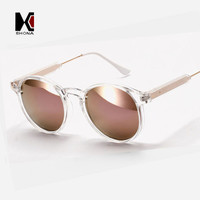 Strong Round Sunglasses Brand Designer Women Keyhole Sun Glasses Transparent Frame Men Eyewear Mirror Lens Coating Gafas UV400