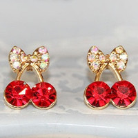 Korean Exquisite Sweet Girls Fashion Brincos 18KG Plated Cystal Cherry Bowknot 18KGP Accessories Stud Earrings = 1669404356