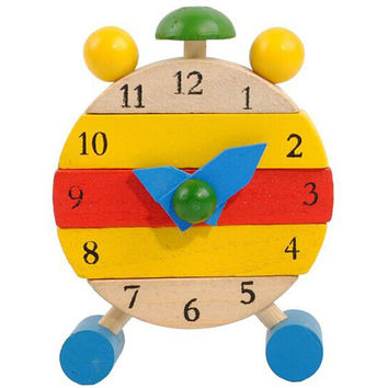 Wooden toy Clock Hand Made Wood Clock Toys Kids Learn Time Clock Educational Toys for children