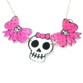 Pink Polka Dot Bow and Skeleton Skull Shaped Acrylic Illustrated Pendant Necklace