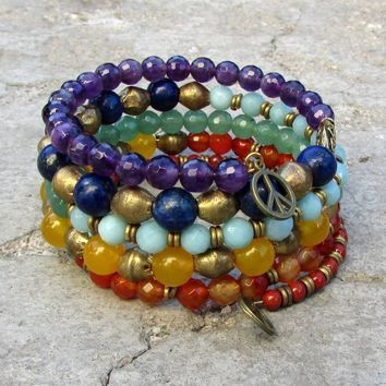 Chakra, Genuine Gemstone Multilayer Bracelet