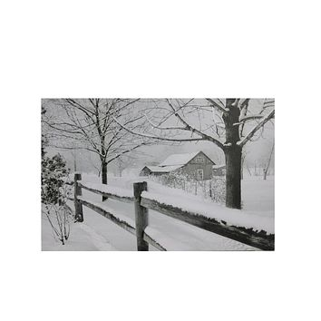 "Small Fiber Optic Lighted Snowy Winter Cabin Canvas Wall Art 11.75"" x 15.75"""