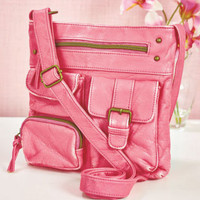 Ladies Peachy Pink 4 Pocket Crossbody Bag Purse w/ Adjustable Strap